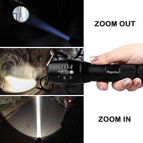 Bagotte LED Super Hell 1600 Lumen CREE T6 Taktische 5 Leuchtmodi, Zoombar Wasserfest Tragbare Taschenlampen mit Einstellbar Fokus für Wandern Camping Handlampe, Schwarz (2 Stück) - 3