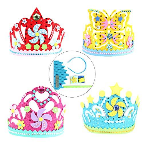 Joyibay 4 Sätze Kreative Kinder DIY Schöne Geburtstag Krone Geburtstag Hut Crown Craft Kit -
