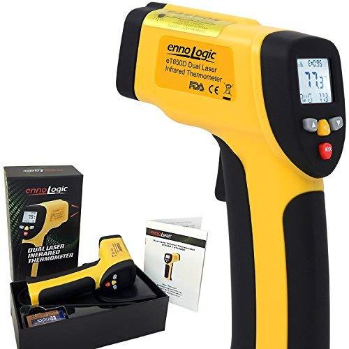 ennoLogic eT650D Thermomètre Infrarouge à Double Visée Laser Sans Contact -50°C à 650°C - Thermometre Laser IR avec Précision Digitale