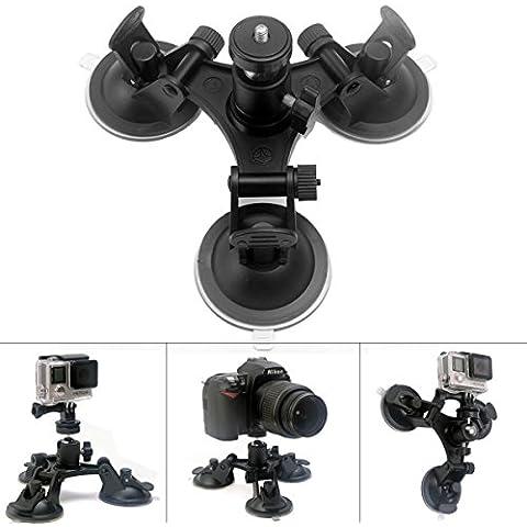 Fantaseal® Trip-Cup Ventosa 360° Giratoria con Cabeza de Bola Ventosa para Coche de Gopro Ventosa Triple para Cámaras Nikon / Canon / Pentax / Sony y GoPro Session Hero 4 / 3+ / 3, SJCAM, Garmin Virb,