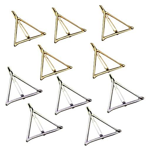 Tinksky Pince à Cheveux épingle Métalliques Géométriques Triangle Creux Pinces Accessoires, Paquet de 10