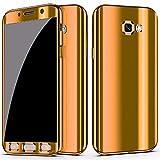 Galaxy S7 Edge Hülle Case 360 Grad Full Body Überzug Case Shockproof Spiegel Protective Cover + HD Clear TPU Displayschutzfolie Handyhülle Backcover Hartschale Schutzhülle Rückseite für Samsung Galaxy S7 Edge Etui Schale (Galaxy S7 Edge, Gold)