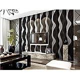getmorebeauty 10m Vlies Luxus Strukturierte Wave Tapete Rolle, silber schwarz