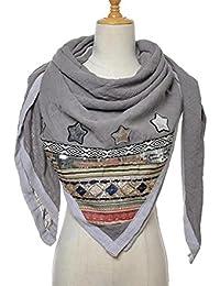 Damen Trend Schal Sommer Blogger Tuch Patches Blumen Stickerei Y10510 Grau