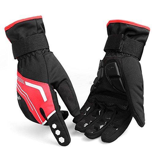 Xuanbao Arbeitshandschuhe Reflektierende Radfahren Handschuhe Wasserdichte Nacht Weg Motorrad Handschuhe für Rennrad, Mountainbike, Racing, Wandern Schnittfester Schutz (Farbe : Rot, Größe : M) (Arbeitshandschuhe Reflektierende)