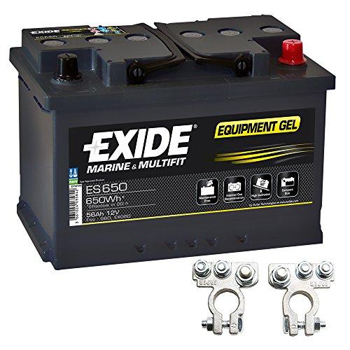 Exide Equipment Gel Batterie ES 650 12V 56Ah inkl. Polklemmen Boot Solar Wohnmobil