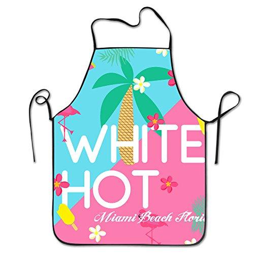 Pattern Apron Burlap Polyester Women White Hot Basketball Slogan Miami Beach Florida Cute FRICSTAR