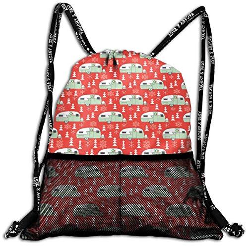 027d5ff8356a sd4r5y3hg Vintage Christmas Trailers Drawstring Backpack Bags Sport Gym  Treat Bag