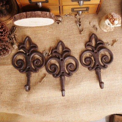 3piese/Kit de Cast Iron Coat a Hook Rétro Home Decoration Hair Tips Hook