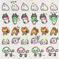 Q-Lia cute stickers with colorful dogs, some in neon colors, with dogs with spots, wearing bows etc.