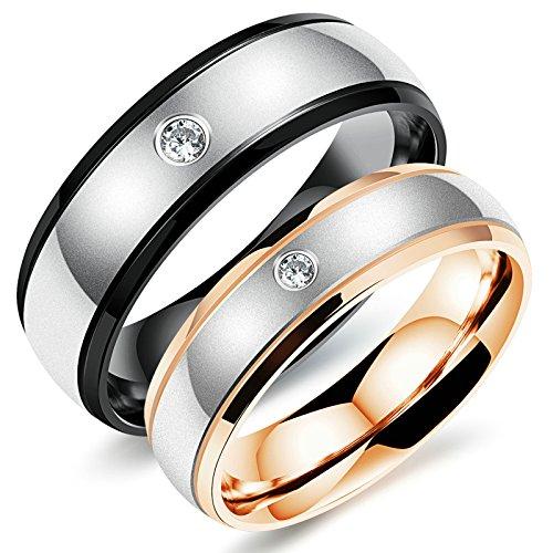 Werfen Kostüm Herren Ring - Aooaz Damen Ringe Herren Ringe Edelstahl Ringe Paar Ringe Schwarz Gold Zirkonia Ringe Gratis Gravur Damen 57 (18.1) & Herren 60 (19.1)