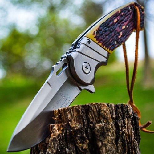 Elk Ridge ER-A003I Spring Assist Folding Knife, Silver Drop Point Blade, Simulated Bone Handle, 4.75-Inch Closed by Elk Ridge -