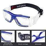 OBAOLAY Sportbrille, Erwachsene Schutzbrille Schutzbrillen Running Brille Arbeitsschutz verstellbar für Brillen Basketball Fußball Fotografie von Basketball Tennis und andere Sportler, blau Test