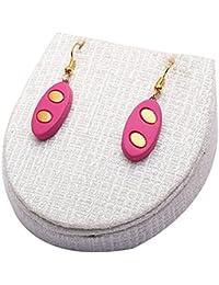 Terramart_ Handmade Terracotta Earring Set Jewellery For Women / Girls ( Pink & Gold )