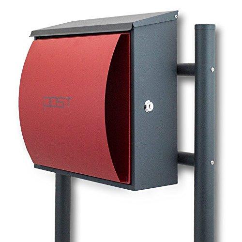 BITUXX® Design Standbriefkasten Briefkastenanlage Seitenschloss und Zeitungsfach Dunkelgrau/Rot