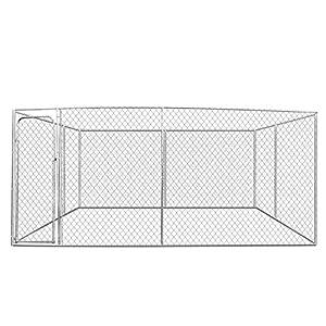 IDMarket - Chenil grillagé 4x4 m pour Chiens 16 m²