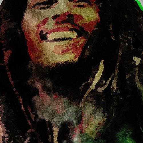 Bob Marley Souriant Femme S-2XL Sweat à capuche le dos   Wellcoda Gris