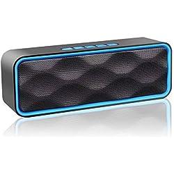 Enceinte Bluetooth Portable, Aigoss Haut Parleur sans Fil, Bluetooth 4.2 Subwoofer, Son HD Stéréo, Mains Libres Téléphone, Radio FM, Carte TF Support, pour iPhone, iPad, Samsung etc