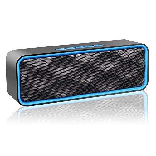 Aigoss S3 Wireless Bluetooth Lautsprecher, Outdoor Stereo-Lautsprecher mit HD Audio und Enhanced Bass, integrierter Dual Driver Freisprecheinrichtung, Bluetooth 4.2, FM-Radio und TF Card Slot (Mit Kühler Lautsprecher)