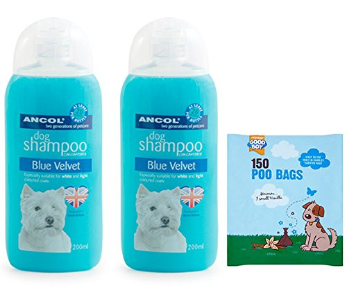 white-dogs-shampoo-2-x-200ml-ancol-dog-shampoo-for-white-dogs-plus-150-scented-poo-bags