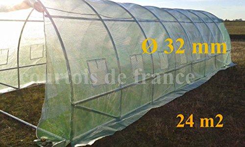 Grande serre de jardin tunnel 24 m2 pro, avec tubes de 32 mm et bâche 200 microns. 2 portes.
