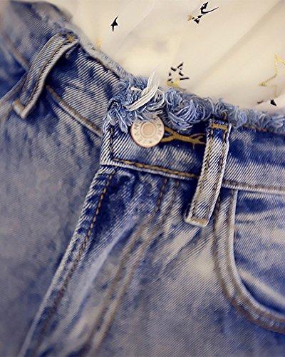 Damen Frauen Mädchen Hohe Taille Shorts Kurz Jeans Denimblau