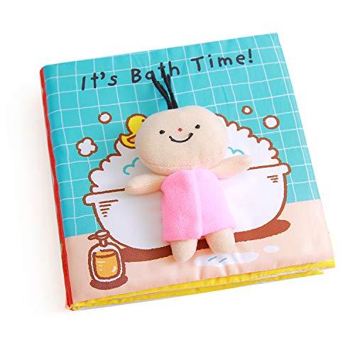 Libros Blandos para Bebé, Libro de Tela Bebé Aprendizaje y Educativo Libro para Bebé Recién Nacido Niños, Juguetes de Entretenimiento y Aprendizaje, It's bath time, Estimula los Sentidos del Bebé