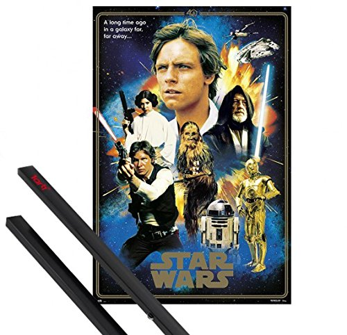 1art1® Póster + Soporte: Star Wars Póster (91x61 cm) 40 Aniversario, Heroes Y 1 Lote De 2 Varillas Negras