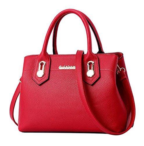 WanYang Damen Kunstleder Handtaschen Umhängetaschen Messenger Schulter Beutel Diagonal Schultertasche Beiläufige Shopper Rot