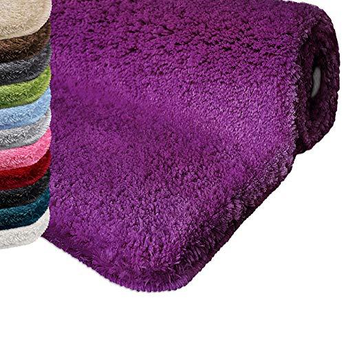 casa pura Badematte | kuscheliger Hochflor | Rutschfester Badvorleger | viele Größen | zum Set kombinierbar | Öko-Tex 100 Zertifiziert | 70x120 cm | Purple Violet (lila)