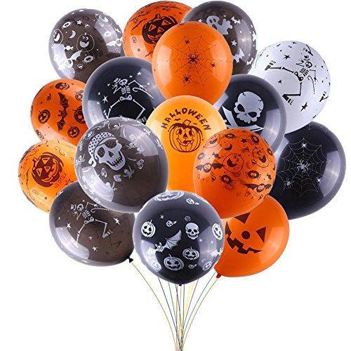 Petalum 100Stk. Luftballons Halloween Skelett Geist Totenkopf Feldermaus Kürbis Lustig Aufdruck Perfekt Halloween Partydeko (Halloween)