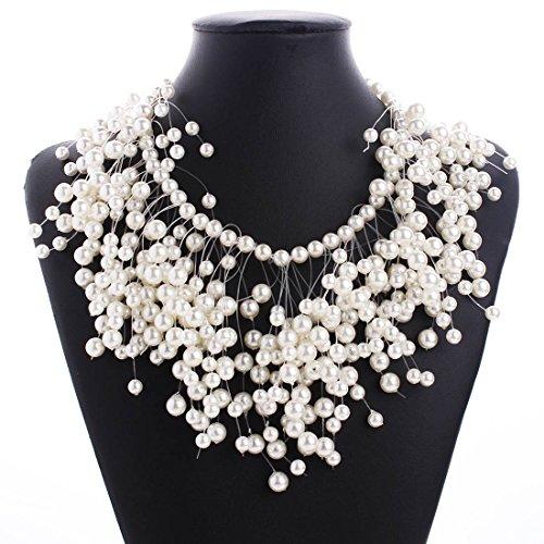 Hypoallergen Fashion Trend von Modeschmuck Personalisierte Luxus Multi-Layer-Perlen Quaste Halskette Schmuck , Wie gezeigt