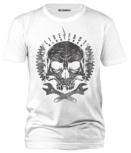Wolkenbruch® T-Shirt Live Fast Ride Free Totenkopf Skull, weiss Gr.3XL (Weiß 3x T-shirt)