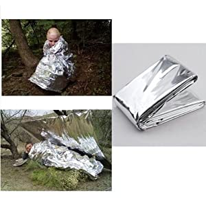 516mqhBJ6DL. SS300  - Factorykiss Foil Survival Rescue Emergency Blanket Waterproof Silver