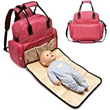 Robustrion Stylish Polka Dot Multifunctional Diaper Bag For Mothers For Travel Nappy Tote Backpack Large Size (34 X 12 X 34 Cm) - Red