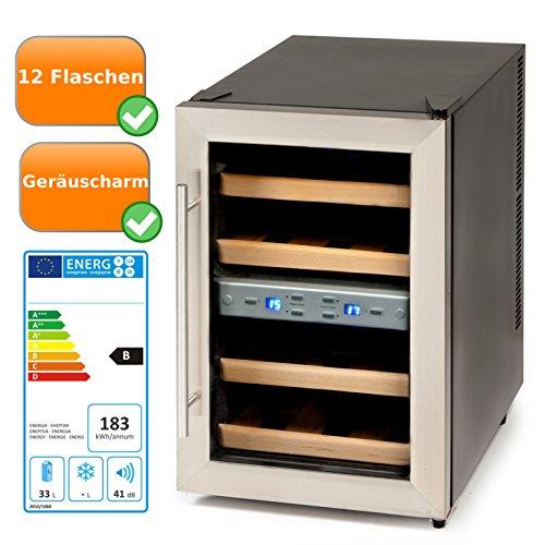 Schwarz Thermoelektrische Weinkühler (Wein-Klimaschrank für 1 Liter Flaschen mit Glastür, Display mit Temperaturanzeige + zum optimalen einstellen der richtigen Temperatur, Weinkühlschrank für 12 Flaschen, schwarz)