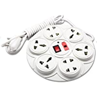 MoreBlue 8+1 Round Extension Strip 6 Amp 8 Universal Multi Plug Point (4 Three pin and 4 Two pin sockets) Extension Board 2 Yard with LED Indicator, Switch and Fuse