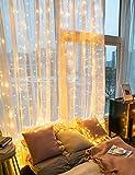 Lichtervorhang Fenster Lichterkettenvorhang außen warmweiß - 3X3M 300 LEDs 4 Musikmodi und 8 Beleuchtungsmodi mit Fernbedienung, USB Lichterkette mit Timer als Deko für Party Hochzeit