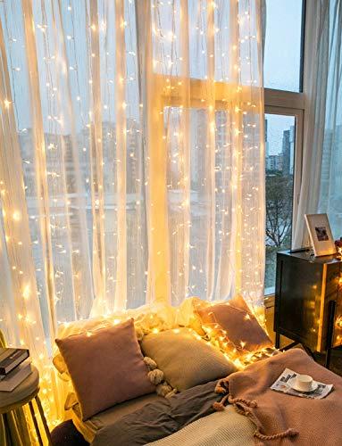 Lichterkette Vorhang Lichtervorhang für Fenster - 3X3M 300 LED Lichterkettenvorhang mit Fernbedienung Timer USB, 4 Musikmodi und 8 Lichtmodi, Lichterkette für Zimmer Innen und Außen Party Deko