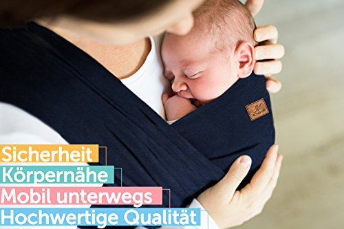 SOVERDE® Tragetuch - Babytragetuch für jede Größe I DUNKELBLAU I Inkl. Deutsche Binde Anleitung I Baby Erstausstattung - 3
