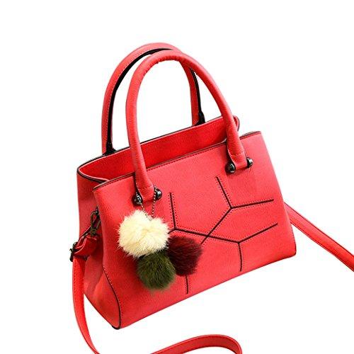 Handtaschen für Lady Umhängetasche PU Leder Tasche Süß Modisch Hochschule Stil Neue Schultertasche Messenger Bag Dunkel Grau Weinrot