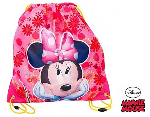 asche Turnbeutel Rucksack Sportbeutel Gym Bag Gymsack 40x34cm 100% Polyester - tolle Geschenkidee für Kinder (Minnie Maus-tasche)
