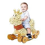 ★Heiß im Angebot★ Labebe Baby Schaukelpferd Holz, 2-in-1 Schaukelpferd mit Räder, Schaukeltier Giraffe Gelbe für Baby 1-3 Jahre Alt, Schaukel Pferd/Schaukel Baby/Schaukeltier Musik/Schaukel Kinder/Schaukel Spielzeug