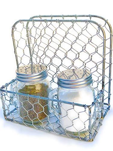 Serviettenhalter und Salz & Pfeffer Set, rustikales Bauernhaus Hühnerndraht Design mit Mason Jar Shaker mit Griffen (Großen Mit Gläser Griffen Mason)