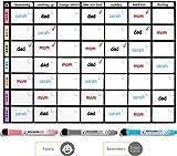 Tableau blanc tableau Tâches Ménagères magnétique Format A3 Par Plan Smart *Version Couleur*- Planning Familial pour frigo - BONUS: 3 Marquers De Qualité