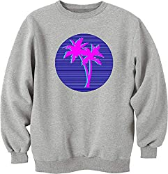Nothingtowear Unisex Vaporwave Palms Old School VHS Miami Logo Sweatshirt Jumper Grau L