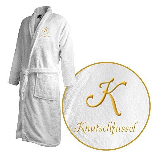 Bademantel mit Namen Knutschfussel bestickt - Initialien und Name als Monogramm-Stick - Größe wählen White