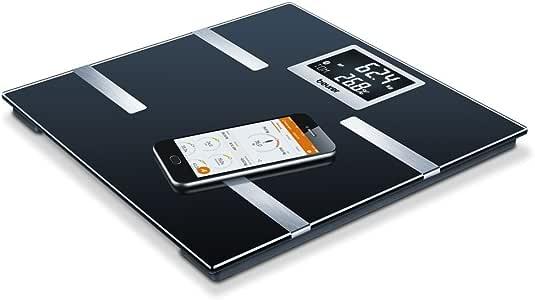 Beurer BF 700 Pèse-Personne Impédancemètre avec Application d'Analyse des Valeurs Corporelles - Mesure la Graisse Corporelle et Masse Musculaire - Balance Connectée - 8 mémoires utilisateurs - Amr/Bmr