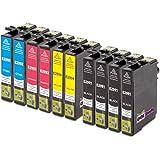 10x Cartuchos de Tinta para EPSON T29XL | 4x negro (18ml) & 2x cian/magenta/amarillo (15ml) | para EPSON Expression Home XP-235 / XP-330 Series / XP-332 / XP-335 / XP-430 Series / XP-432 / XP-435