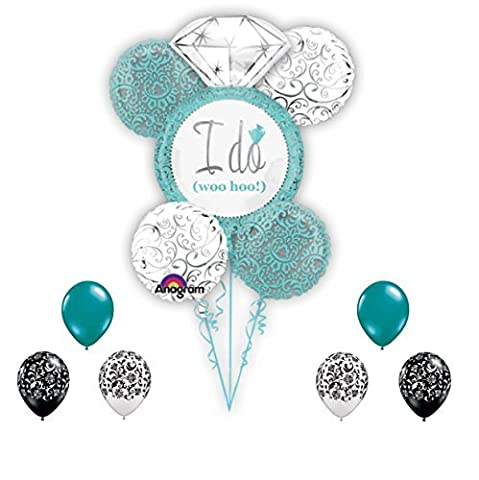 Wedding Balloons I Do Blue Bouquet with Damask Balloons 11 piece Set by Qualatex